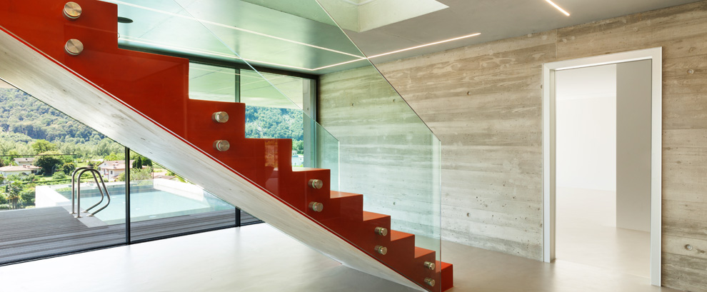 scala con parapetto in vetro casa privata