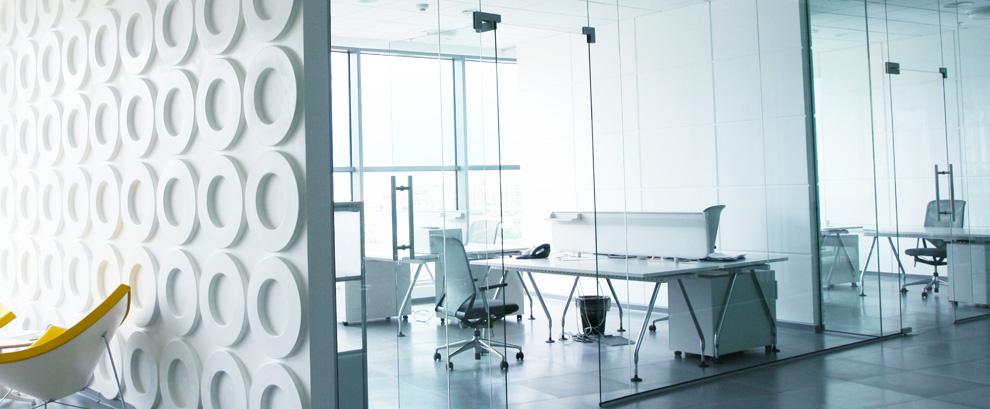 parete di ufficio in vetro